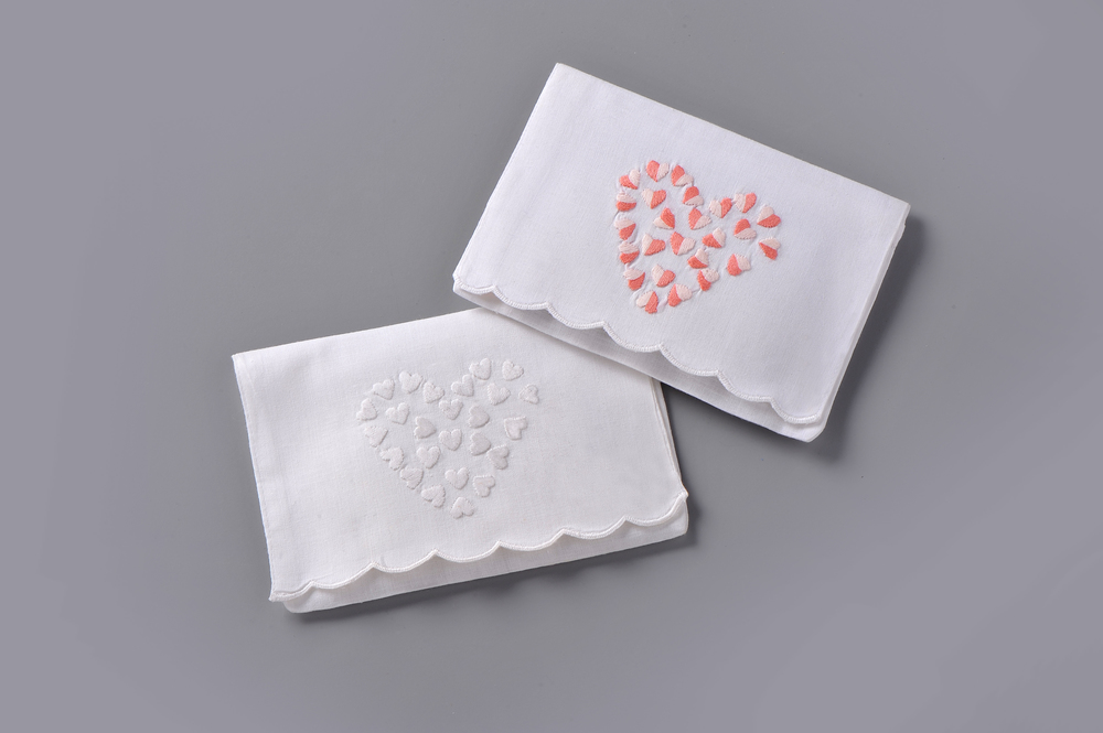 "#4004W-PE Hand Embroidered All-White Heart of Hearts Embroidered Envelope – Suggested Retail Price $17  #4004-PE Hand Embroidered Pink Heart of Hearts Embroidered Envelope – Suggested Retail Price $17  #LV-001 Paper ""Tea-Bag"" Sachets Filled with Lavender - Suggested Retail Price $6"