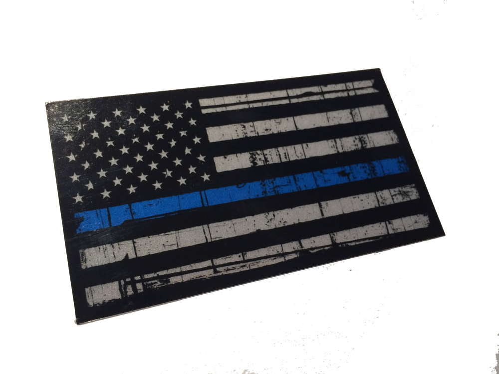 01fd18df3f4d Tattered Police Officer Thin Blue Line reflective American Flag Decal  Sticker 3.75x 2.25