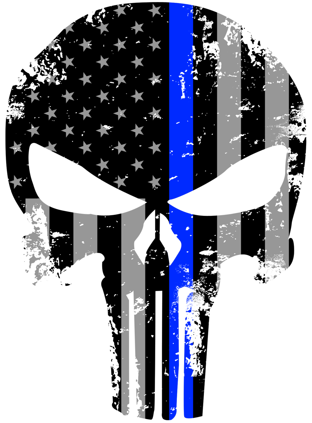 tattered 5x4 inch subdued us flag punisher skull reflective decal with thin blue line empire. Black Bedroom Furniture Sets. Home Design Ideas