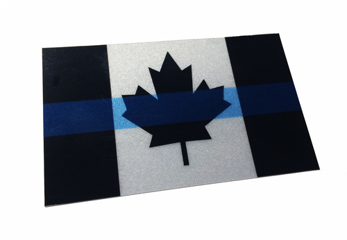 Canadian thin blue line reflective american flag decal sticker 3 75x 2 25