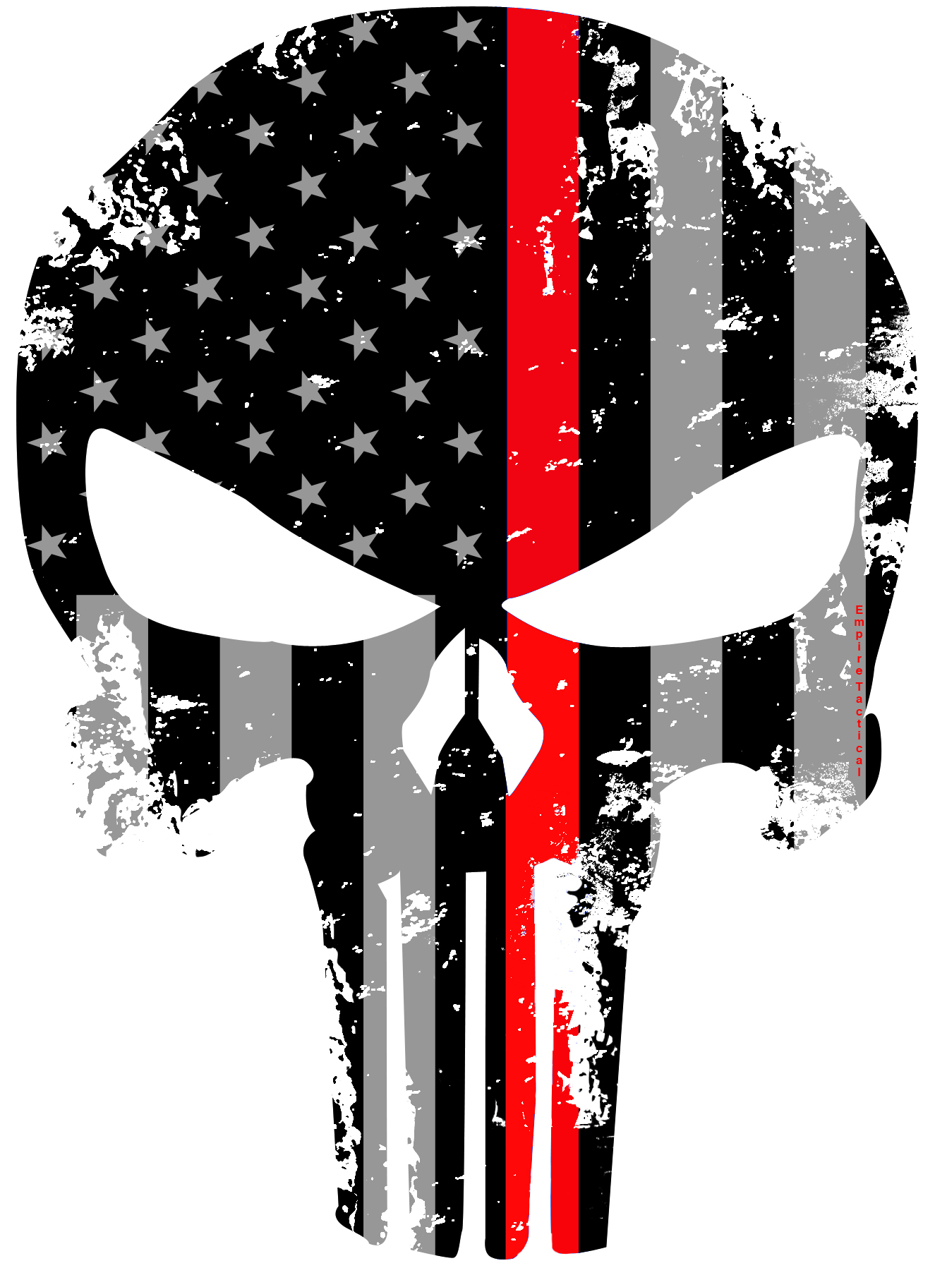 Tattered 5x4 Inch Subdued Us Flag Punisher Skull Reflective Decal