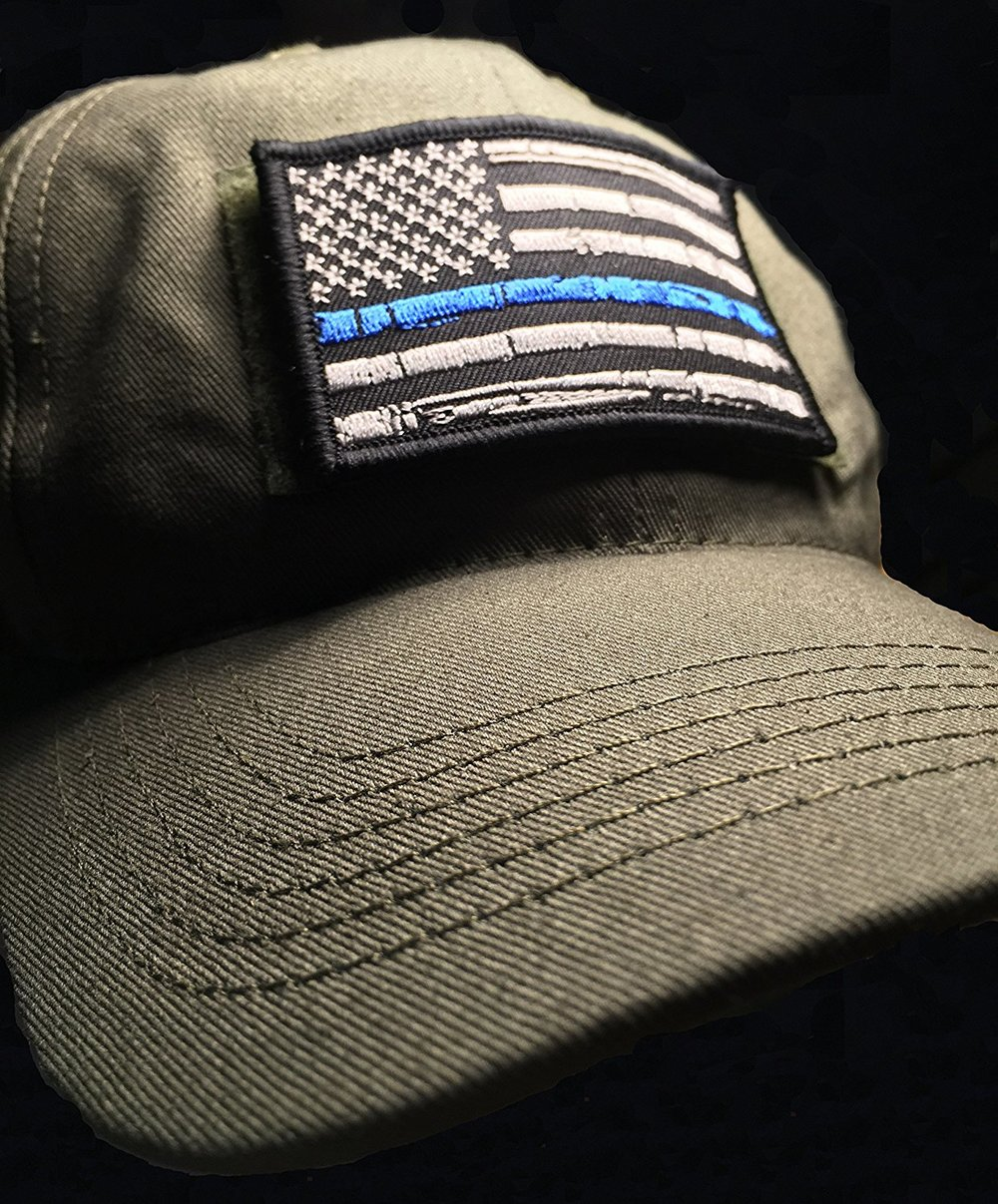 798c8931f23 3.5x2 Tattered Thin Blue Line US Flag velcro patch — Empire Tactical USA