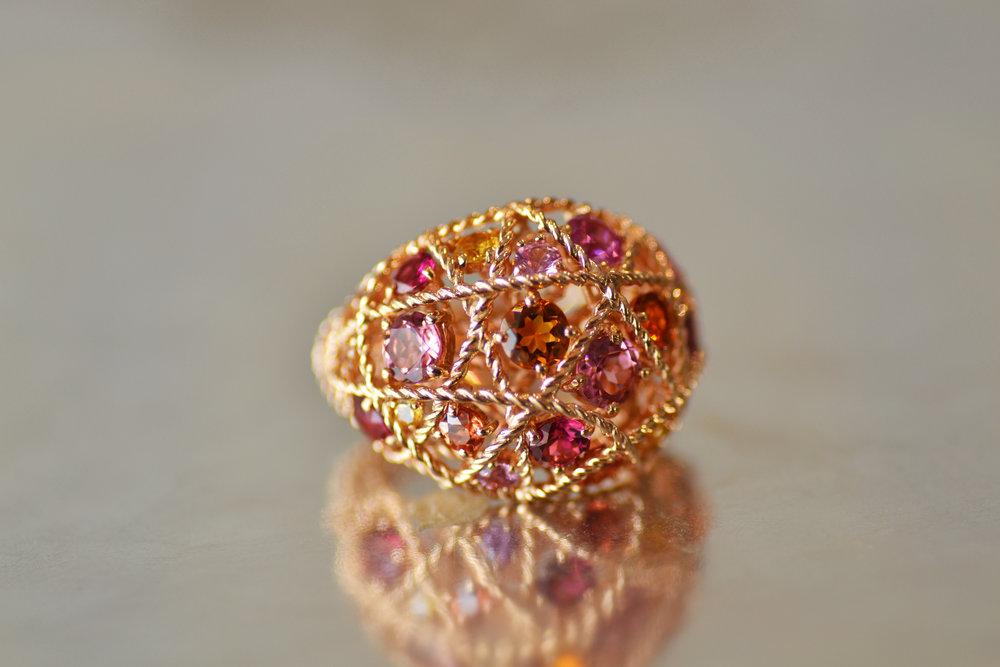 Rubicon jewelry Bangkok Thailand ring Tourmaline Rubelite Rhodolite