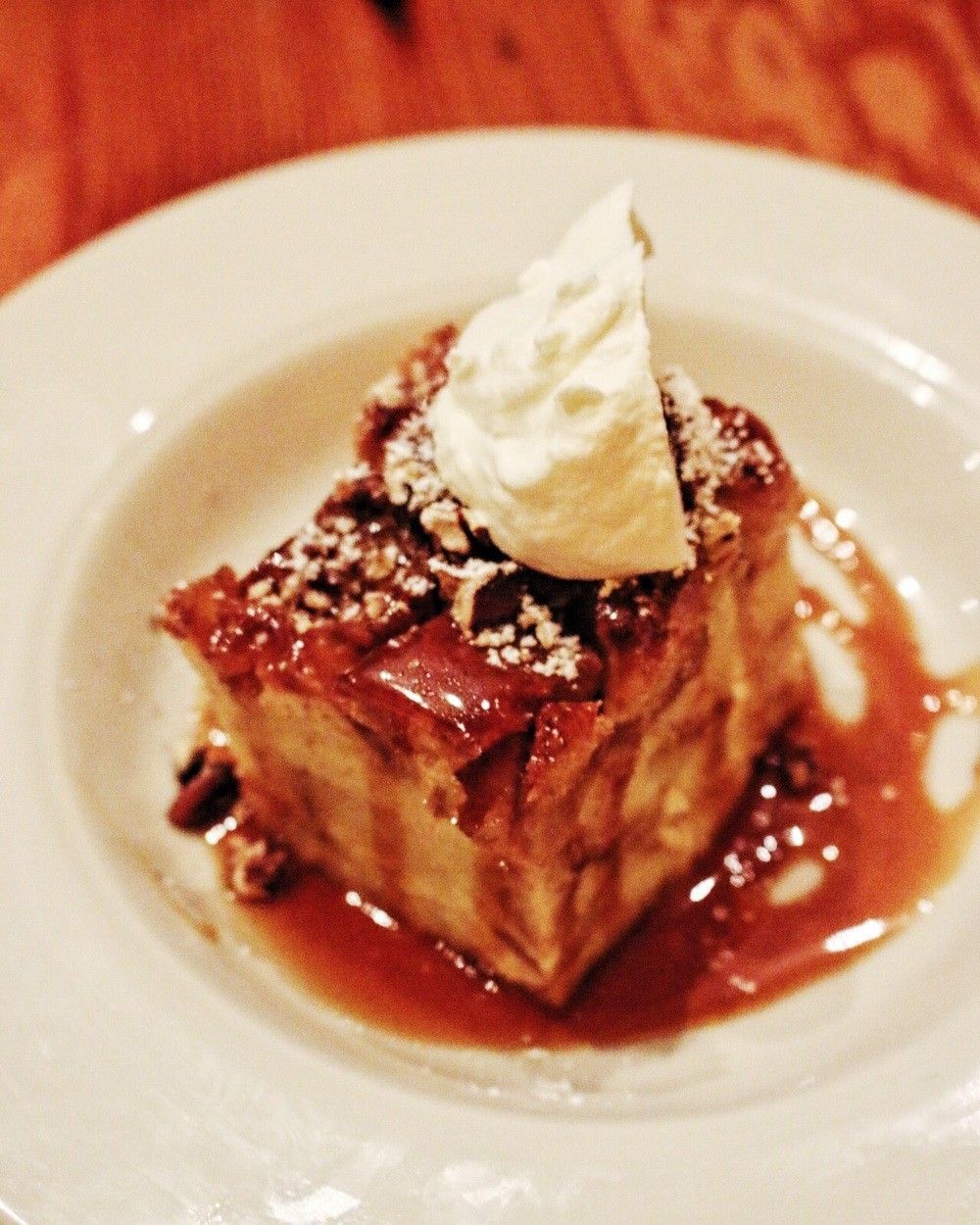 Vanilla Bean Bread Pudding with salted whiskey caramel sauce