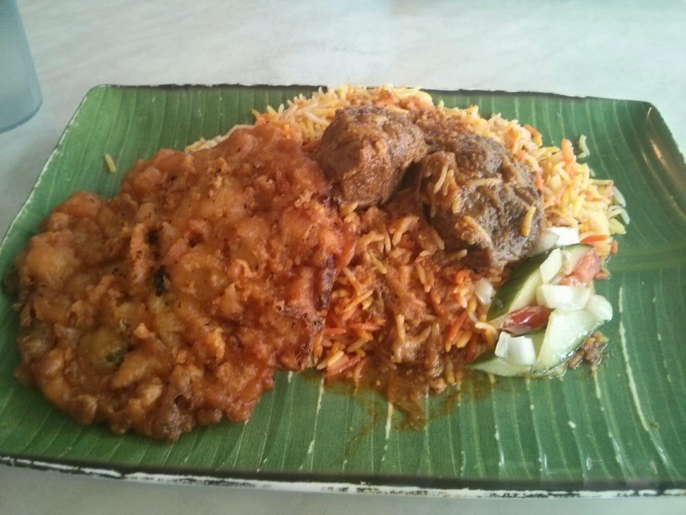 Beef Nasi Briyani with a Prawn Fritter