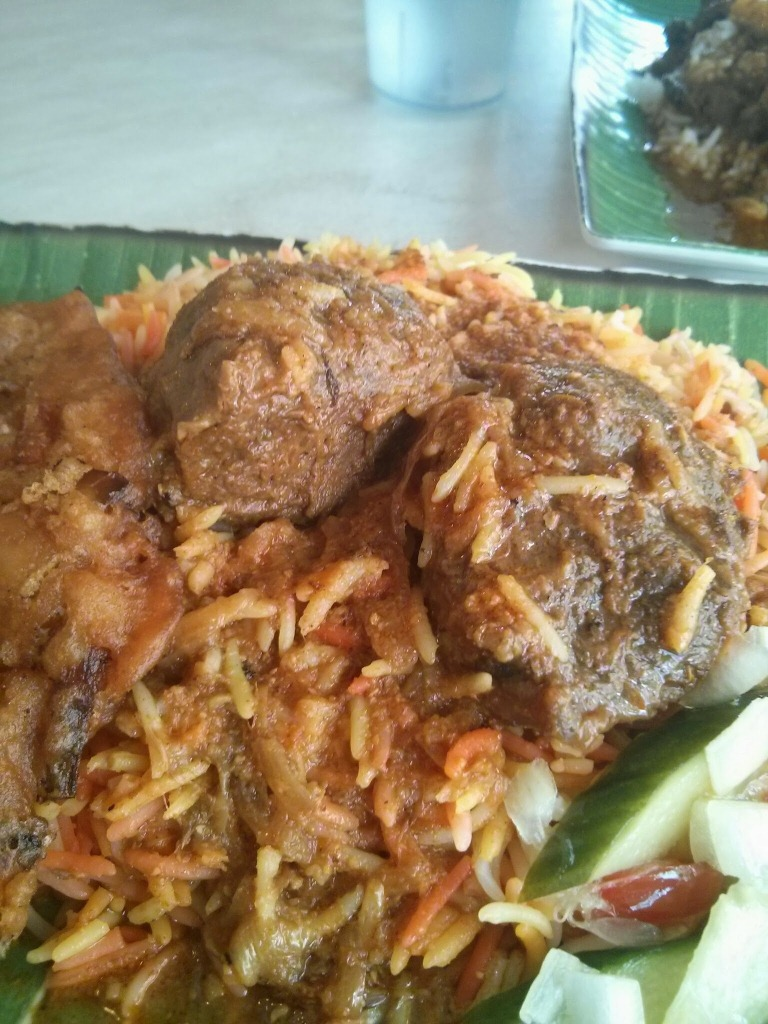 Beef Nasi Briyani with a Prawn Fritter