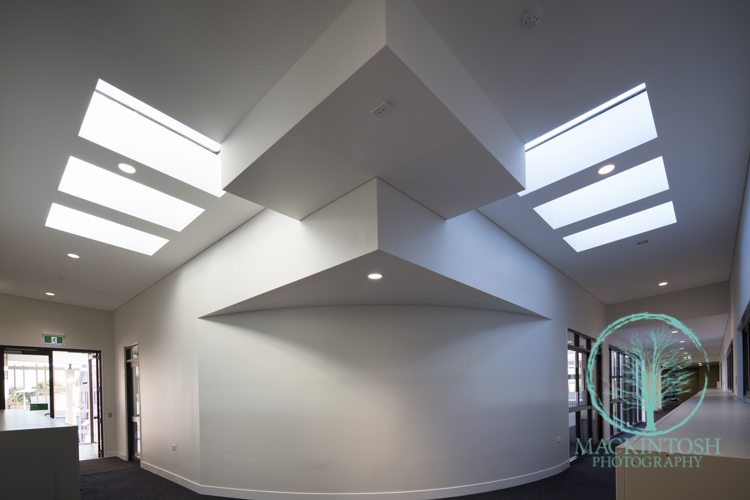 White interiors with skylights