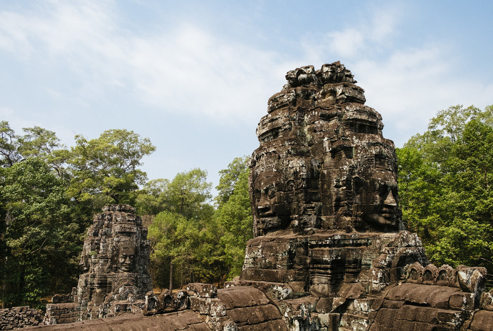 The many facers of Bayon. Bayon is a well-known and richly decorated Khmer temple at Angkor, Cambodia.