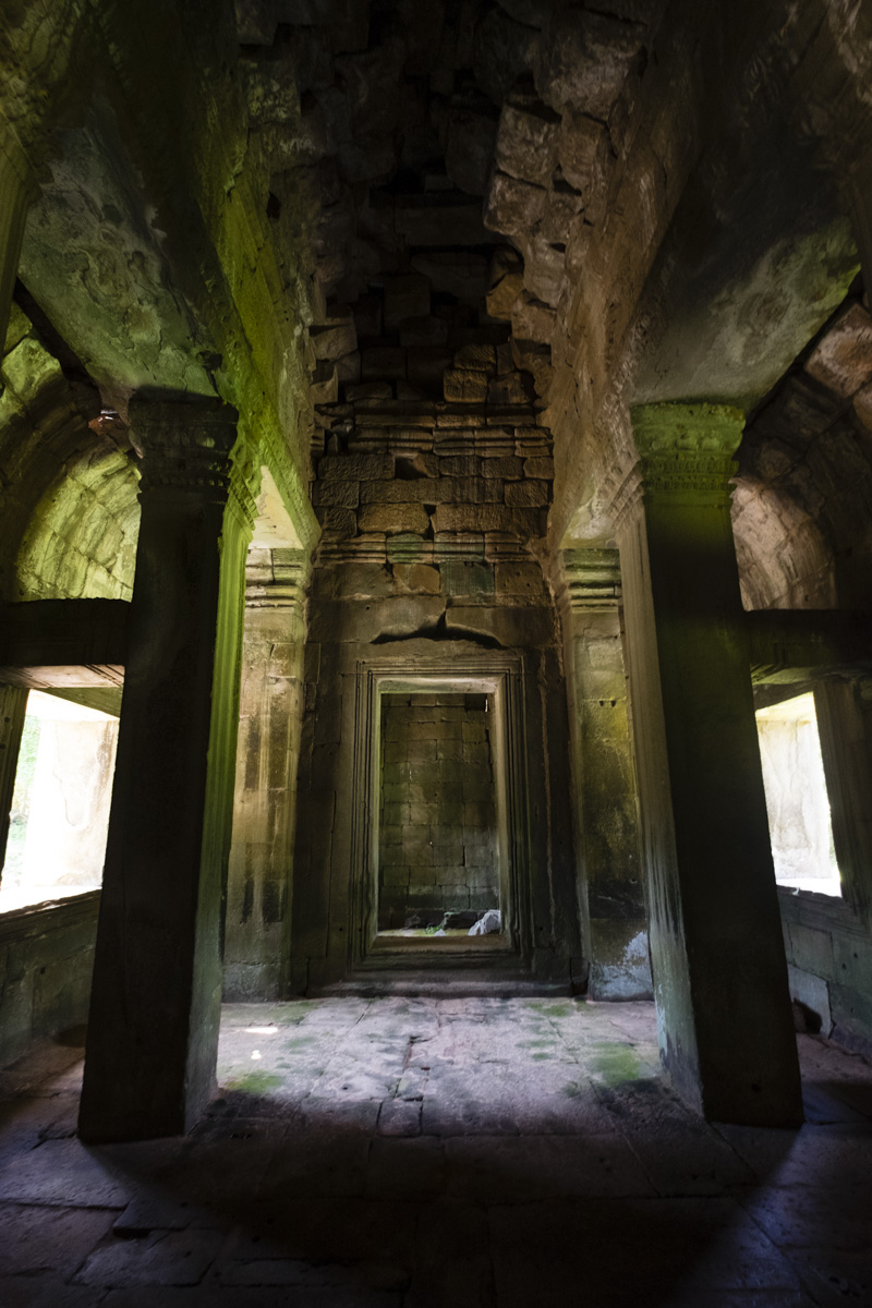 Inside the gate house of Preah Khan. Angkor Cambodia.
