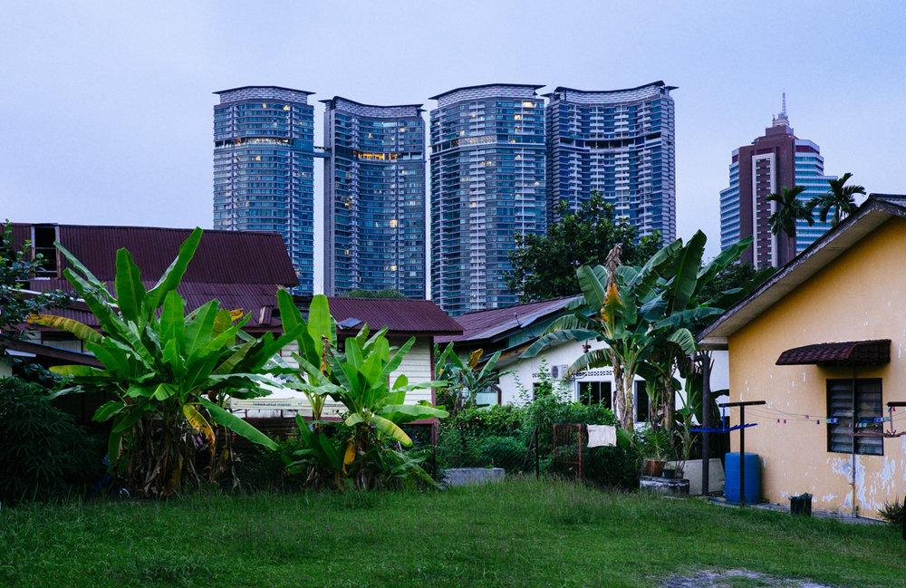 Contrasts in architecture at Kampung Baru, Kuala Lumpur.