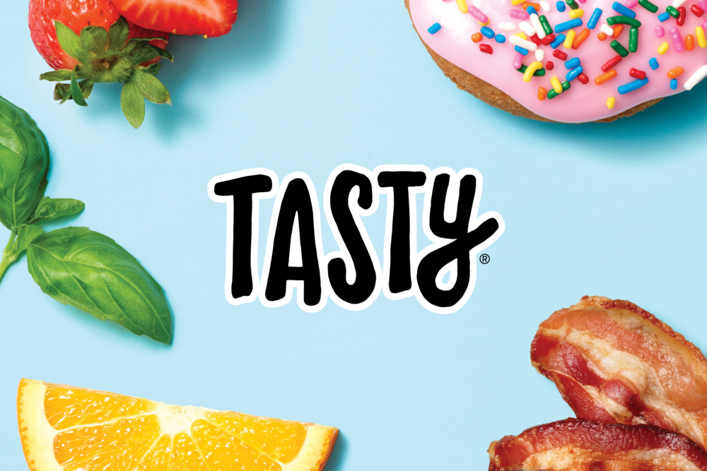 Tasty > Online food brand. > Scope: Brand refresh, visual identity, style guide, print, digital, products, environment.