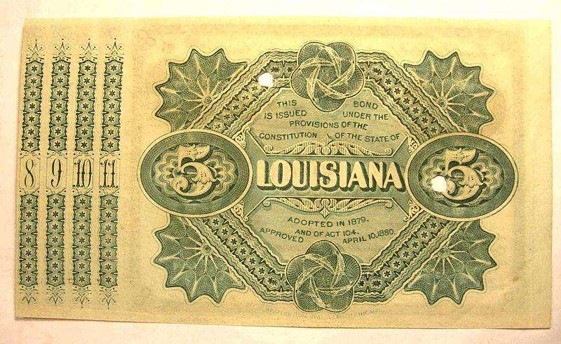 Louisiana Baby Bonds, circa 1880.  Source:  Wikimedia Commons
