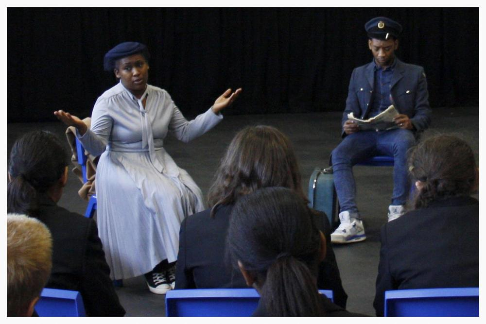 Students watched a performance by Gazebo which described the real experiences of two migrants who moved to Wolverhampton in the 'Windrush Era'.