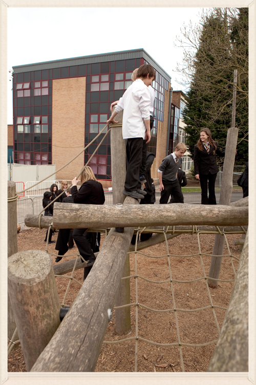 Students using the Timber Tangle, previously situated near the South Block of the old building, back in 2011.