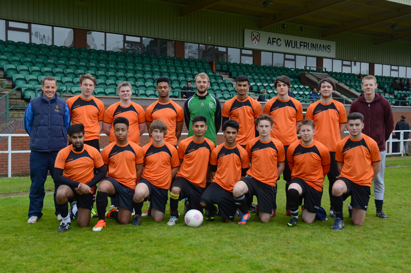 Highfields Sixth Soccer Team line up for the Wolverhampton Schools U19s Cup Final