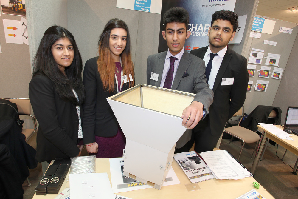 Arandeep Singh, Ria Verma,  Hema Jassel and Hamza Akhtar at the EES's national exhibition at Cranmore Park, Solihull.