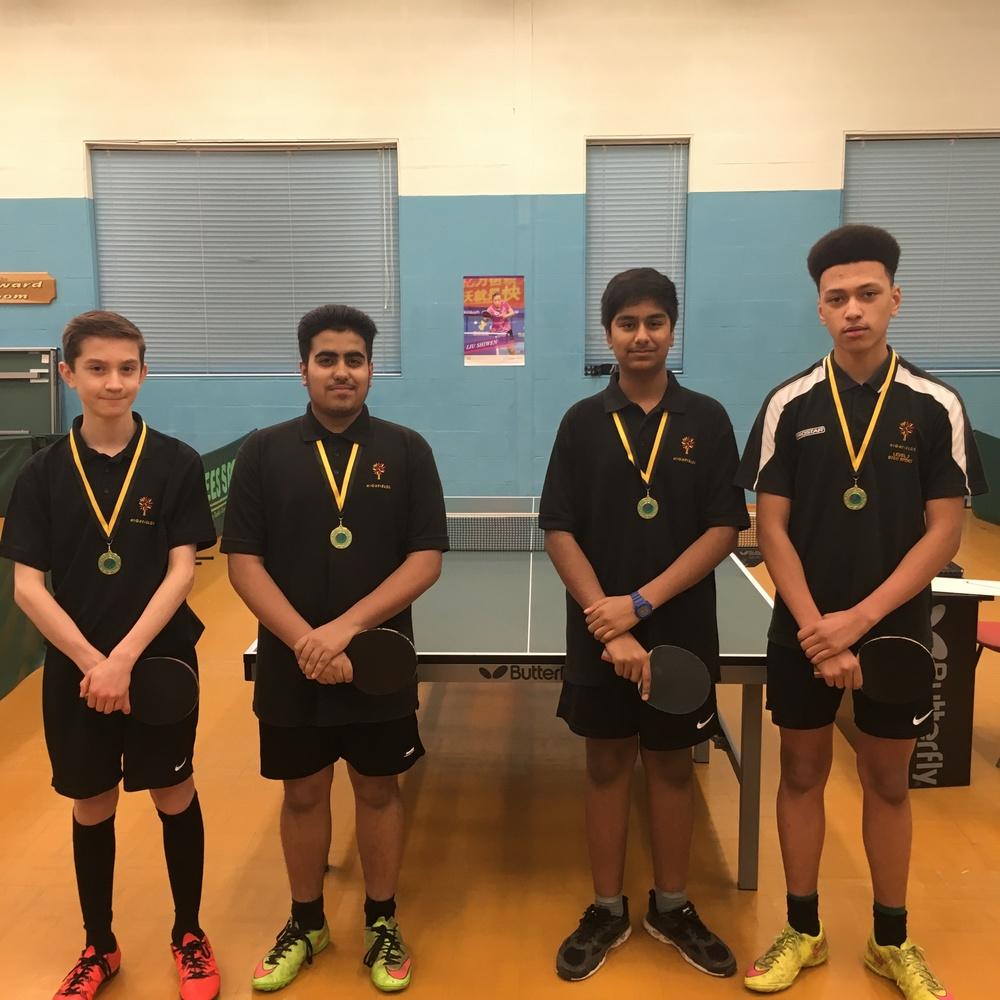 Members of the talented U16 Boys table tennis team
