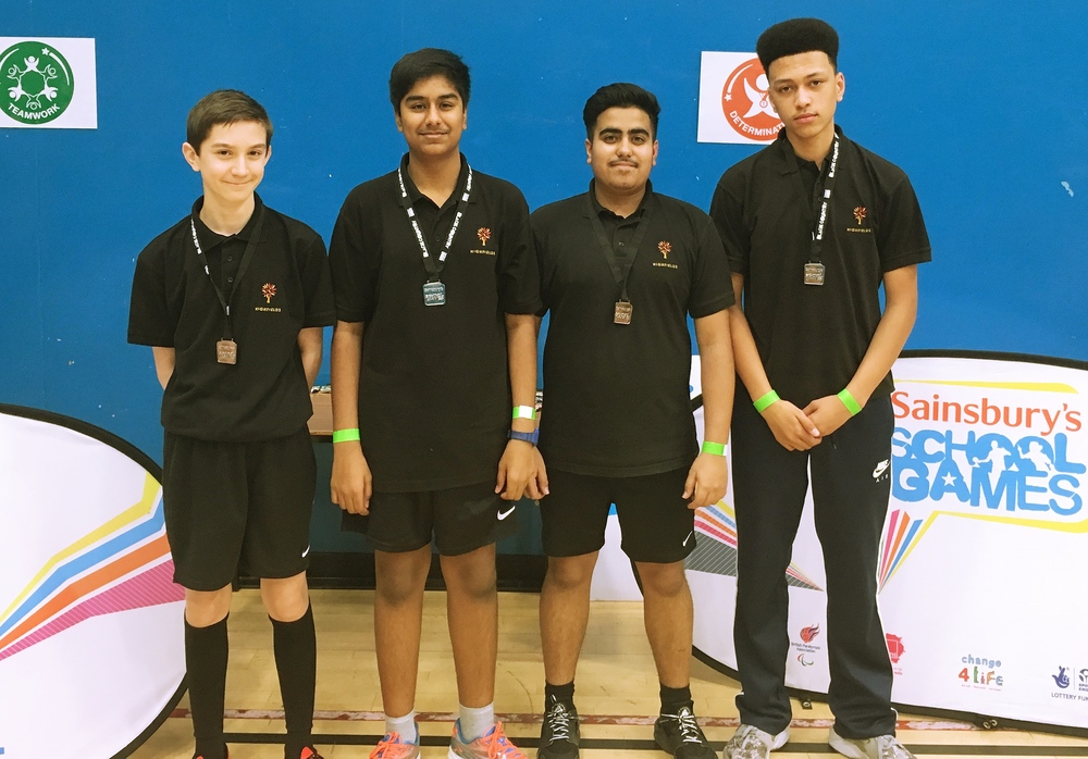 U16 Table Tennis team (L-R) Owen Morris, Manraj Sahni, Tarun Nandra & Kameil McCalla