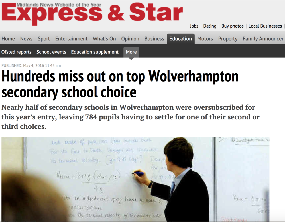 Around 450 students named Highfields as their first-choice secondary school - making it the most popular out of Wolverhampton's 21 schools