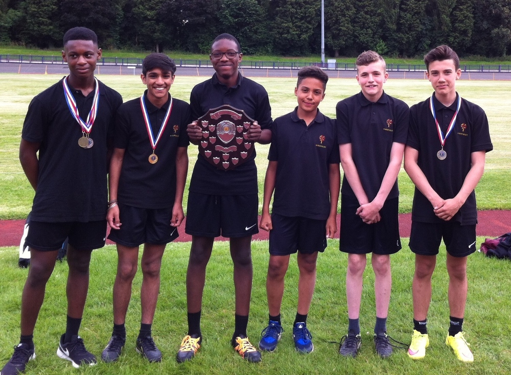 Members of the Year 8 winning team (from L-R) Eric Omozee, Gurkaran Khangura, Emmanuel Falade, Seb Boydell, Joel Adderley, Finley Cooper