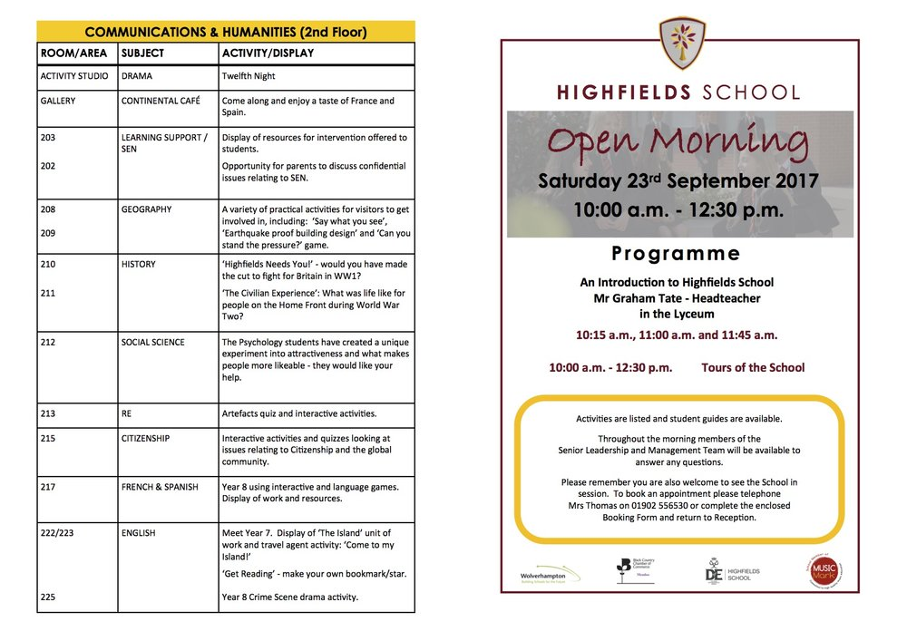 Open Morning Programme