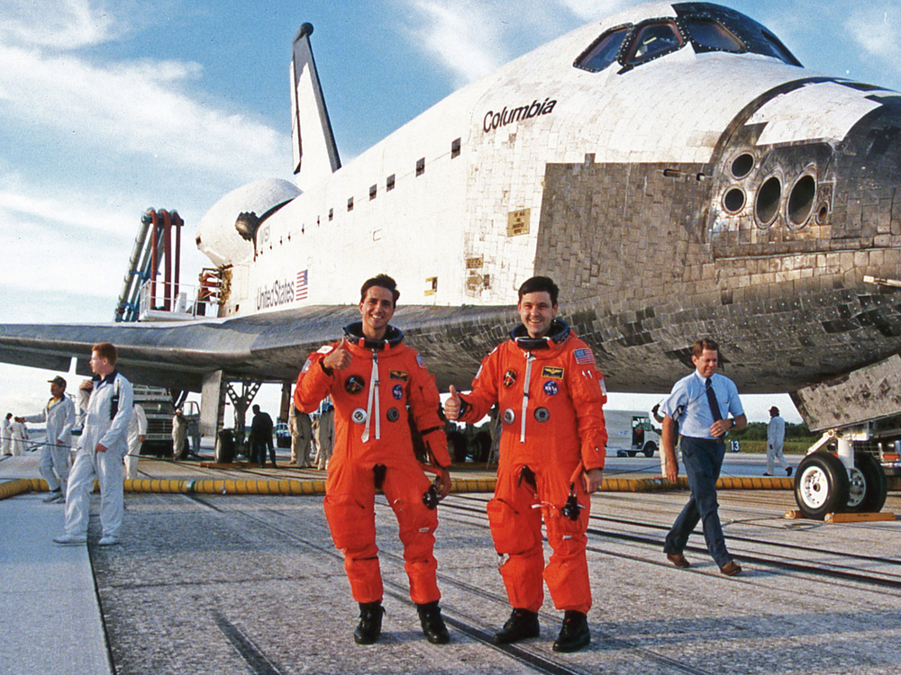 Post-landing inspection with STS-65 commander Bob Cabana.