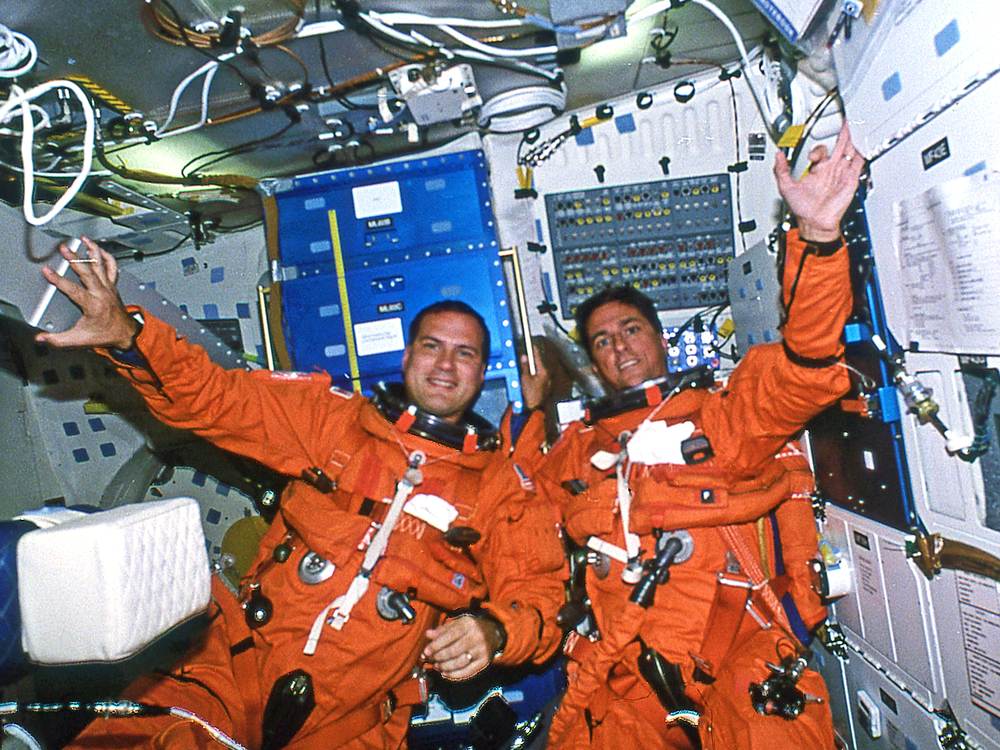 First photo of me in space taken during first hour of the STS-65 mission.