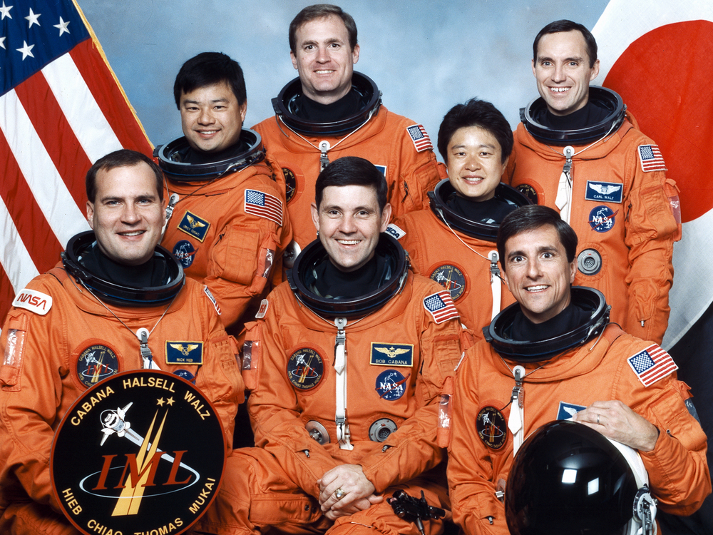 STS-65 official crew portrait.