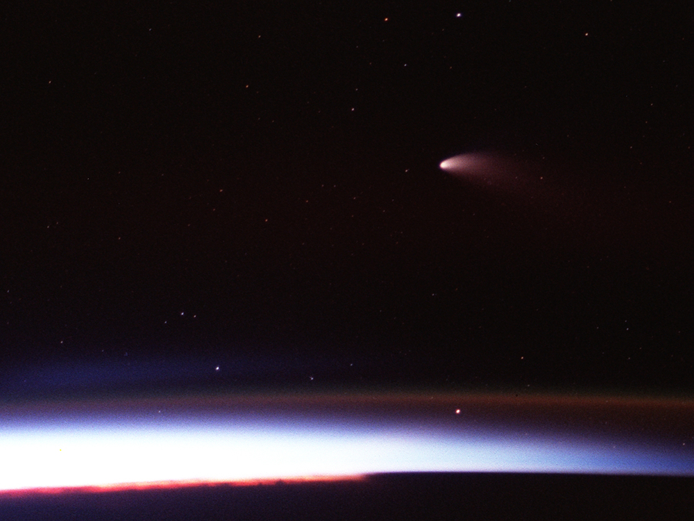 Comet Hale-Bopp as seen from Columbia on April 6, 1997.