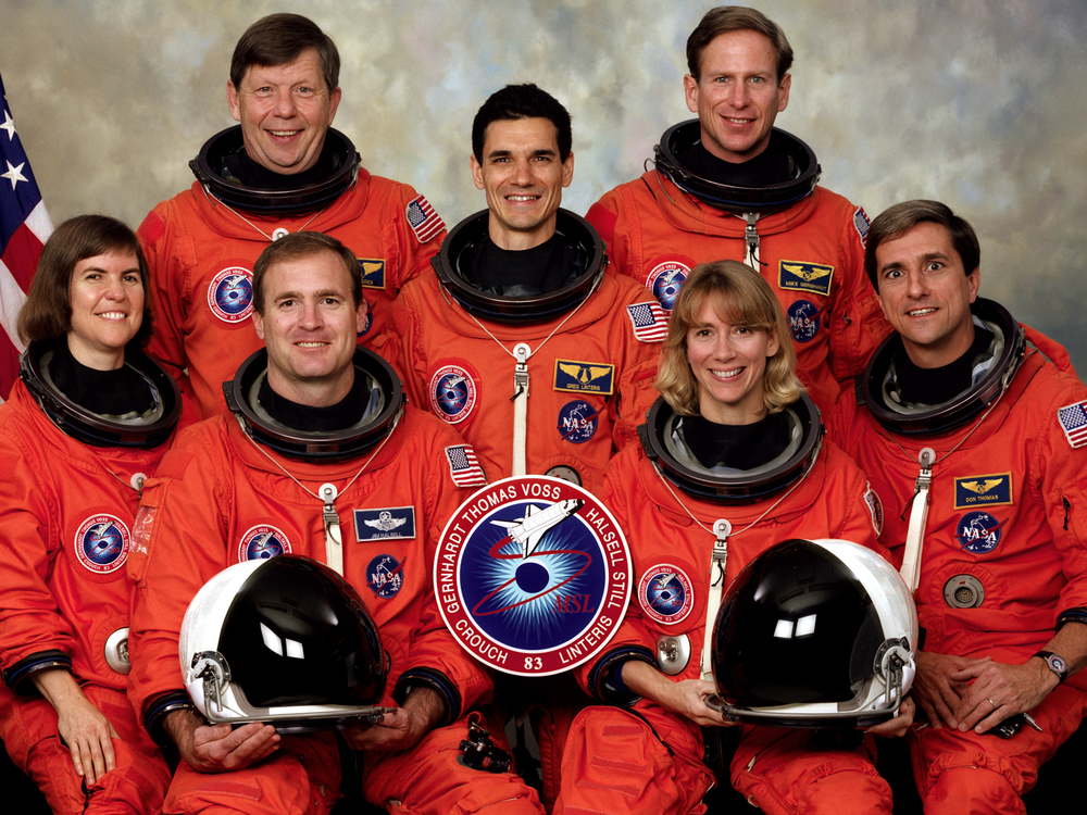 STS-83 official crew portrait.