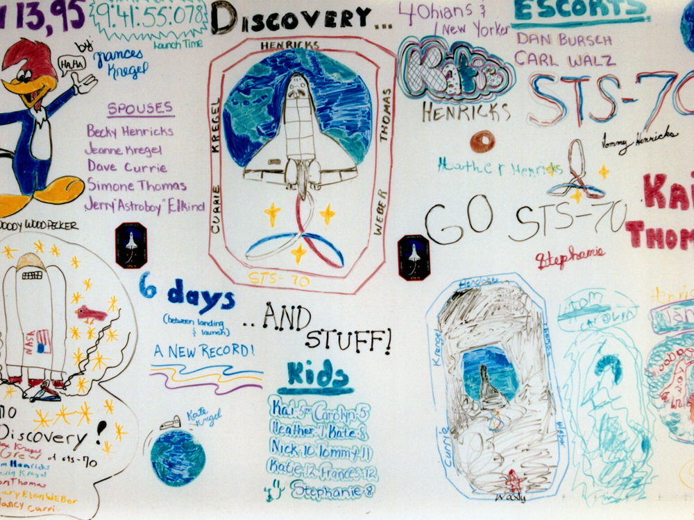 Launch morning artwork by the STS-70 children.