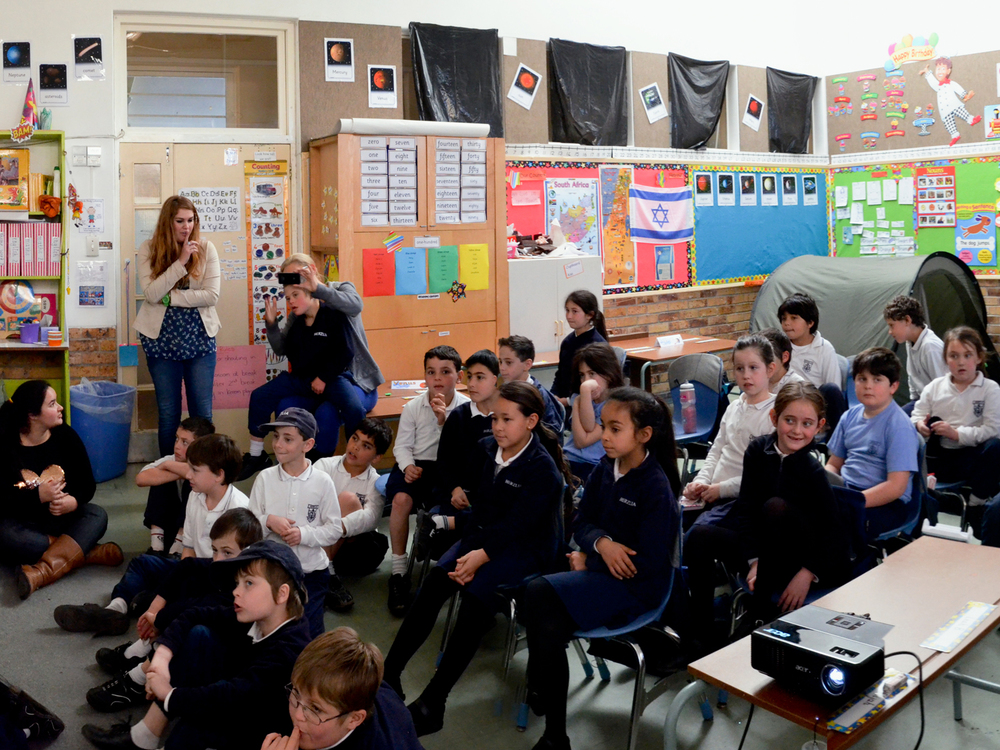 Engaging and inspiring students halfway around the world! (photo Steve Sherman/Living Maths)