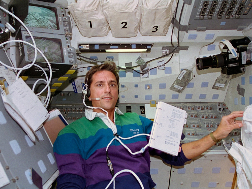 Aboard Discovery during the STS-70 mission.