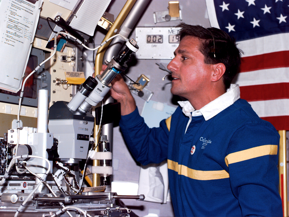 Scientific discovery aboard Columbia during STS-94.