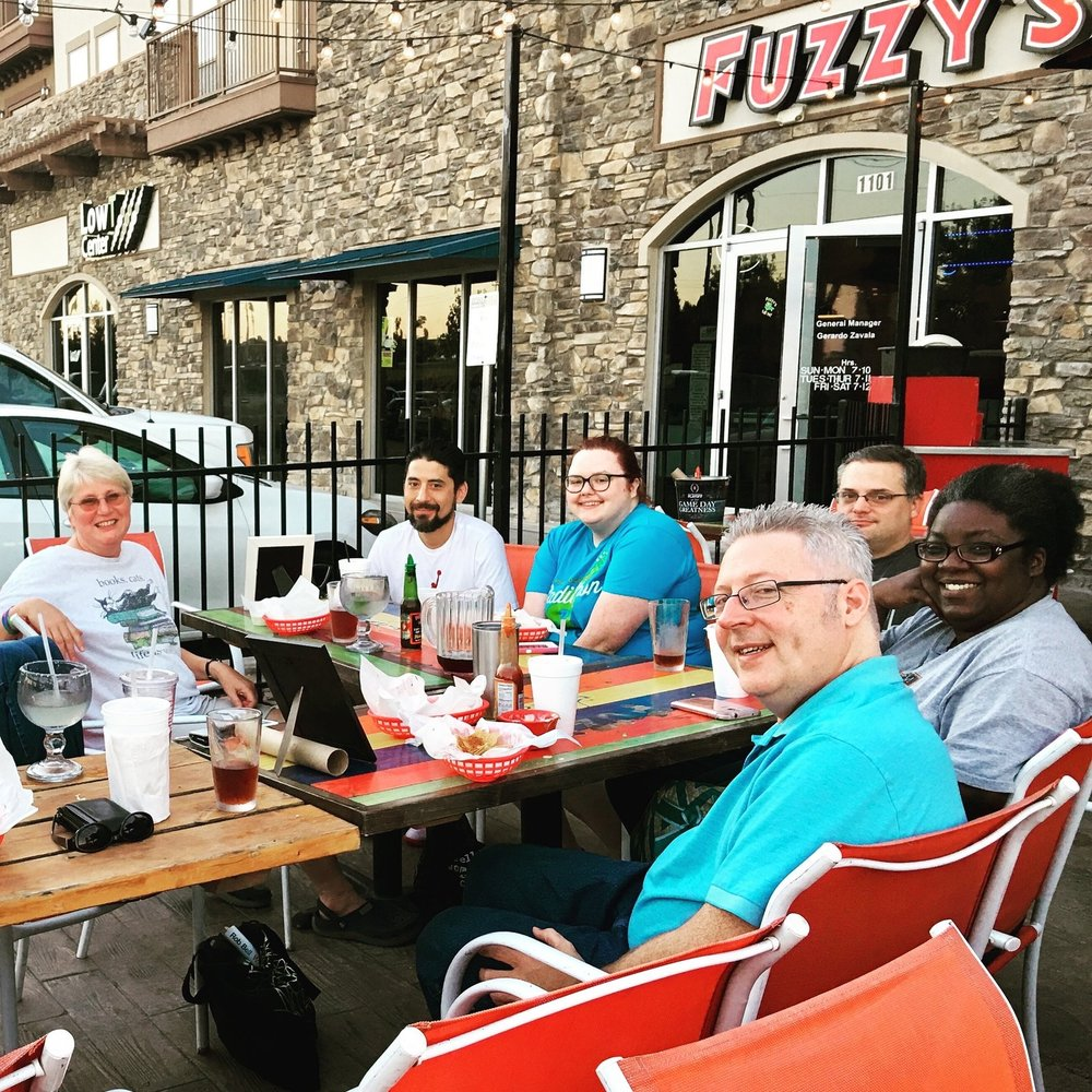 Bible & Beer, our 182nd consecutive Tuesday at Fuzzy's in Mansfield.