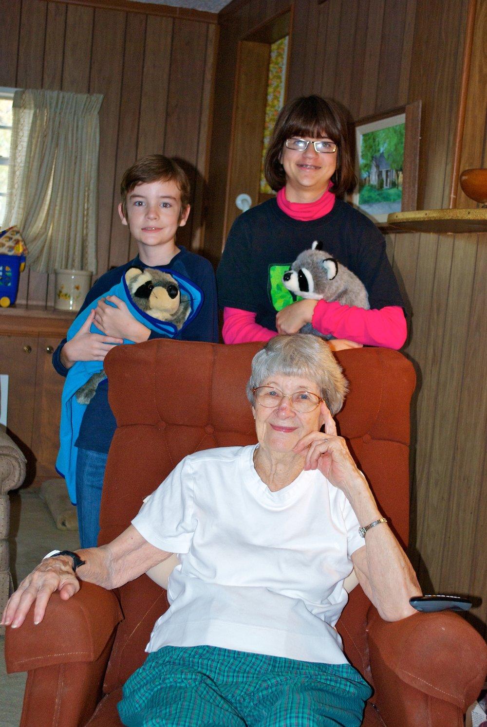 Katie's smart, sweet grandmother, with Katie's smart, sweet kids.  [editor's privilege]