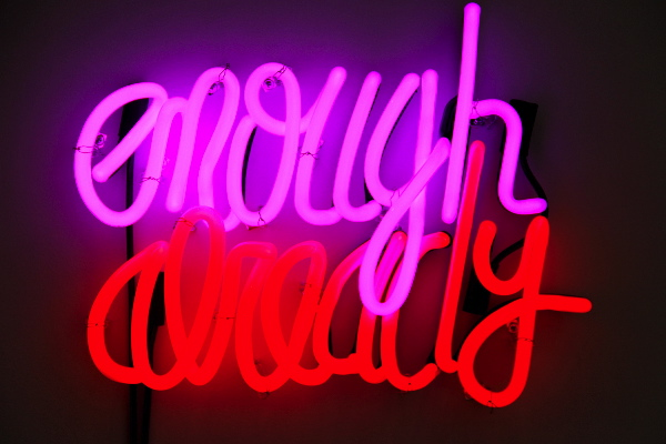 "SIGNATURE PIECE Deborah Kass Enough Already , 2012 Neon and transformers 14"" x 18.5"" AP3 of Edition of 18 + AP3 Retail Value: $20,000 Opening Bid: $12,000"