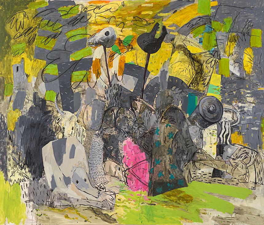 """Bajo la luna (a Miguel Hernandez), 2013 Oil on canvas, 72"""" x 84"""""""