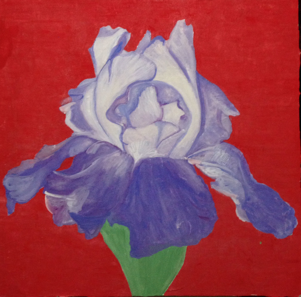 "Mark Turgeon Iris, 2008 Fresco on plaster on wood 24"" x 24"" Retail Value: $2500 Opening Bid: $1200"