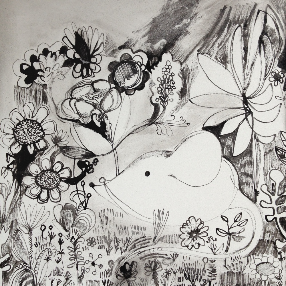 "Rebeca Raney Garden Mouse, 2013 Ink on board 8"" x 8"" Retail Value: $500 Opening Bid: $200"