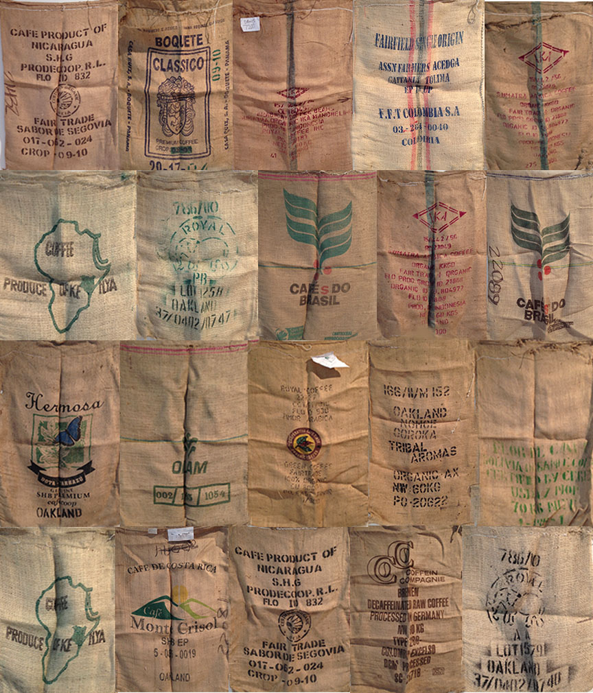 Paul D. Miller Hydrographology, 2013 woven coffee bags 10' x 10' (approximate) Retail Value: $5,000 Opening Bid: $750