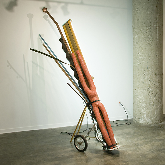 United Rambler v. 1,  2010.   Golf bag cart, steel, urethane rubber, fluorescent light fixture, miscellaneous woods, copper.