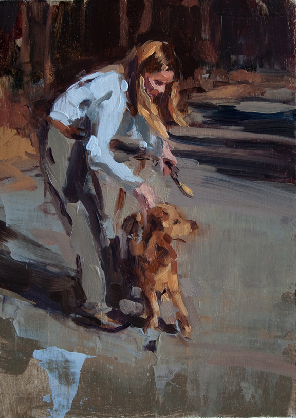 "Sara Pedigo Mom with Dog, 2012 Oil on panel 7"" x 5"" Retail Value: $250 Opening Bid: $75"