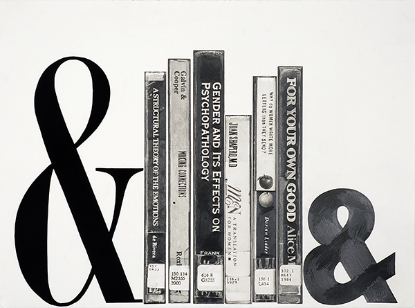 "Karl Haendel   Books and Ampersands #7 (bookends)   ,  2013 Pencil on paper Courtesy of the artist and Susanne Vielmetter Los Angeles Projects  22"" x 30"" Retail Value: $6,000 Opening Bid: $3,000"
