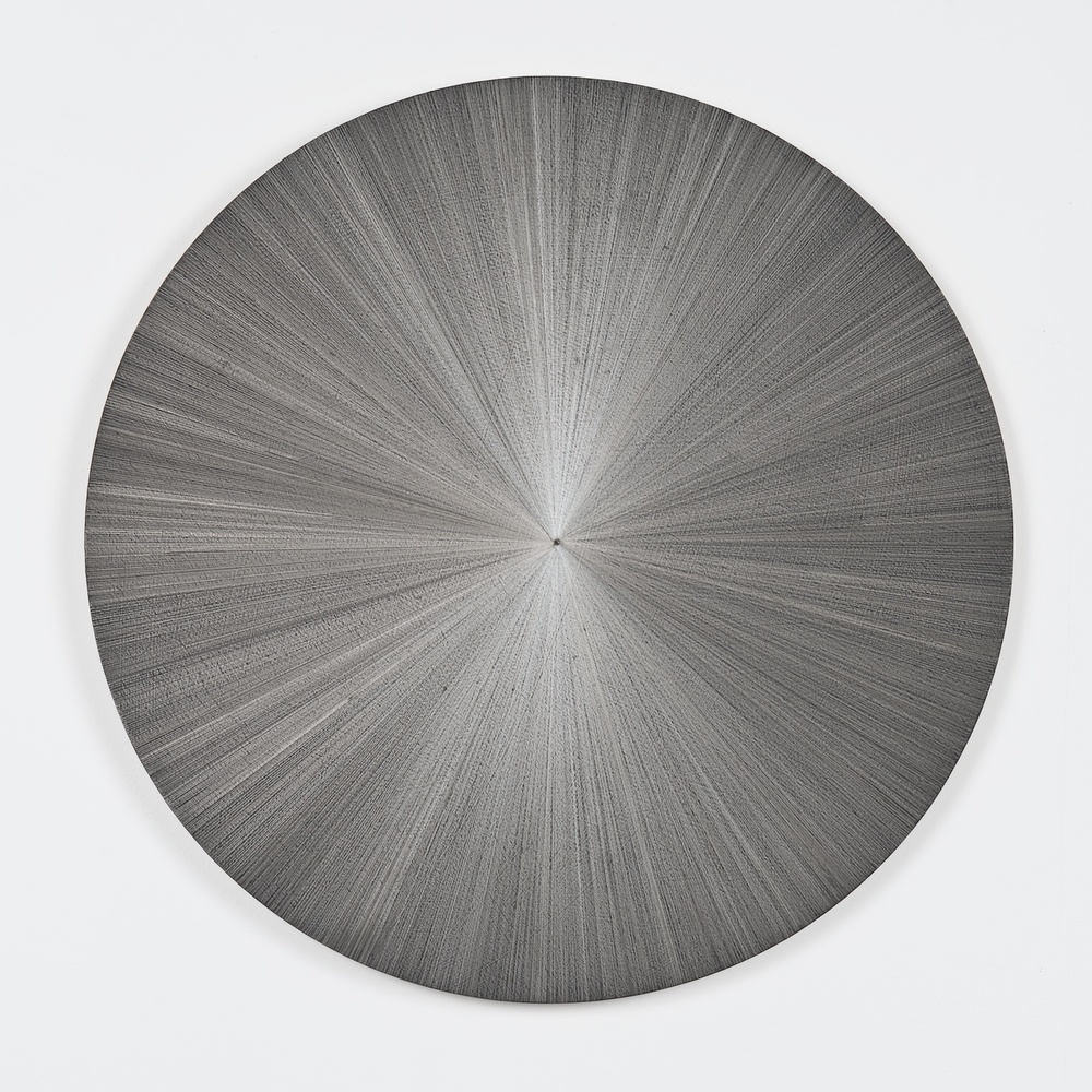 "SIGNATURE PIECE Michelle Grabner Untitled, 2014 Silverpoint on panel Courtesy of the artist and James Cohan Gallery 50"" diameter Retail Value: $21,000 Opening Bid: $12,000"