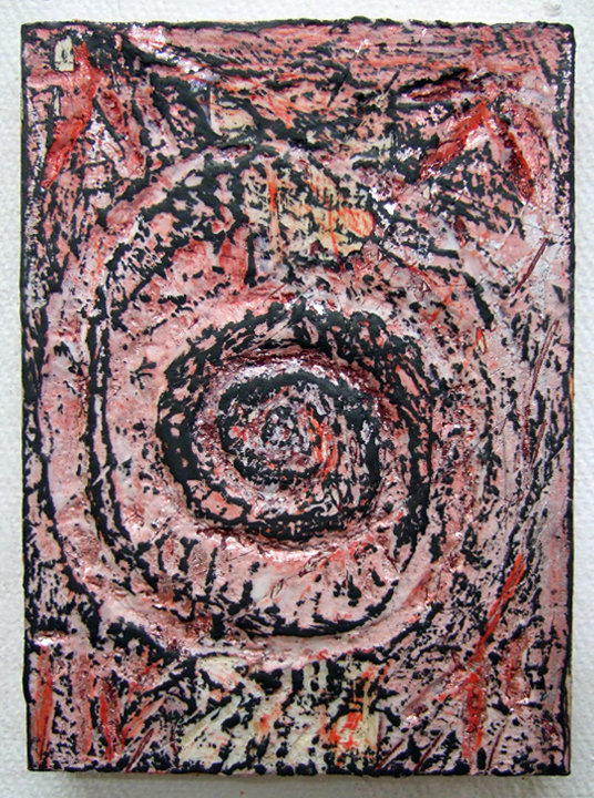 "Nancy Azara   Small Spiral / October 2, 2014  ,   2014  Carved panel with paint, encaustic and graphite  7"" x 5""   Retail Value: $800   Opening Bid: $400"