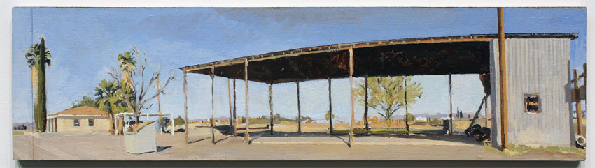 Rackstraw Downes, Farm Buildings Near the Rio Grande: South Side of the Barn, A.M. (Study), 2007. Oil on canvas.