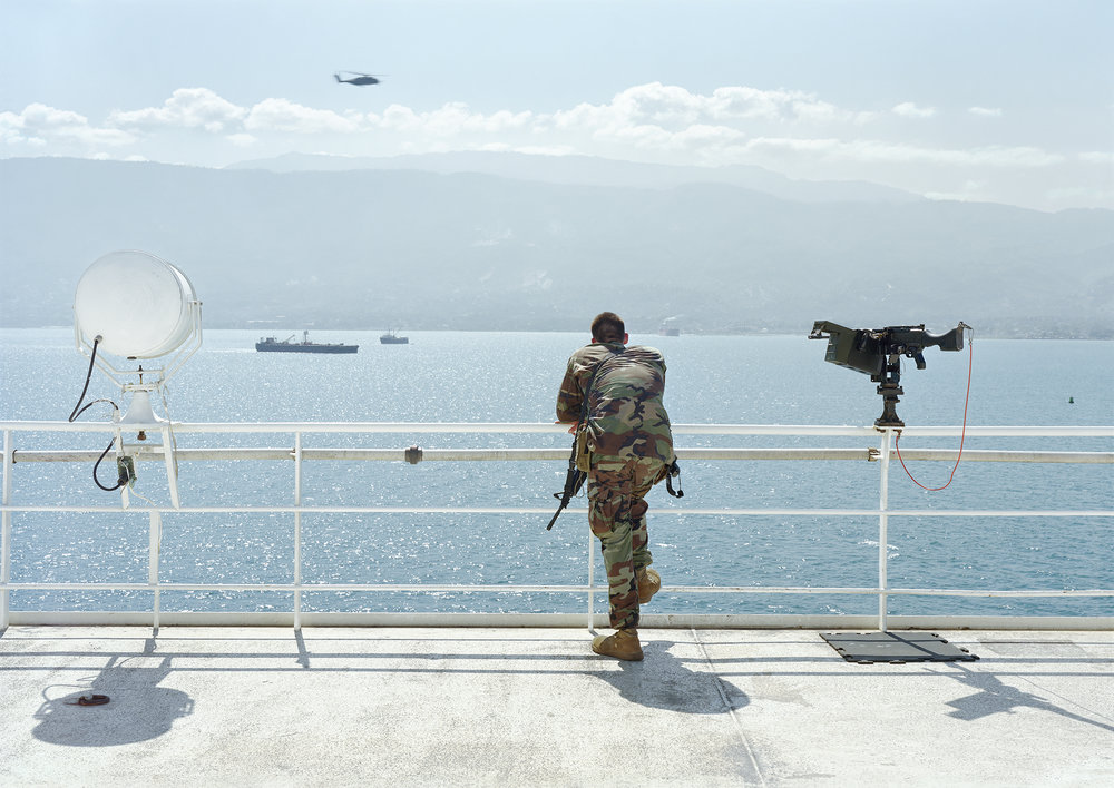 An-My Lê, Ship Security, Earthquake Relief, Naval Hospital, USNS, Comfort, Haiti, 2010. Inkjet print.
