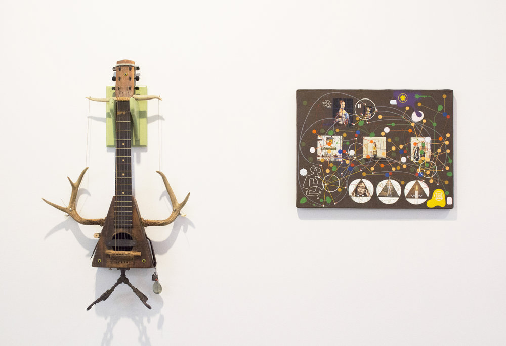 "Left: Deer Antler Uke, 2010-2017. 31.5""H x 19""W x 6.5""D, Mixed Media.  Right: The Seamstresses Are Ceaselessly Seaming, The Seamstresses Are Seemingly Sleeping, 2002. 15.5"" x 20"". Oil on Canvas Stretched Over Panel"