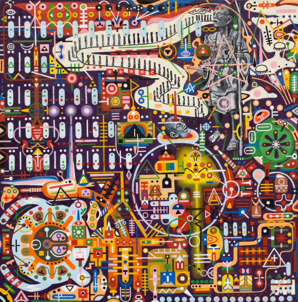 "Lobotomy of the Ghost Mechanics – Scarab Timetable, 2004-2007. 11"" x 11"" Oil on panel. Collection of Kathy Butterly and Tom Burckhardt."